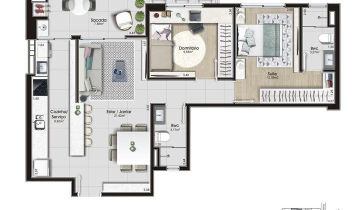 Apartamento 3 Dormitórios, 2 Suítes,Kobrasol