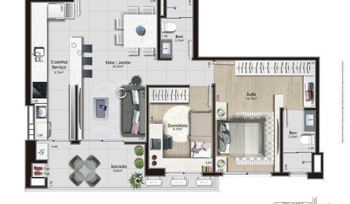Apartamento 2 Dormitórios 01 suite no Kobrasol