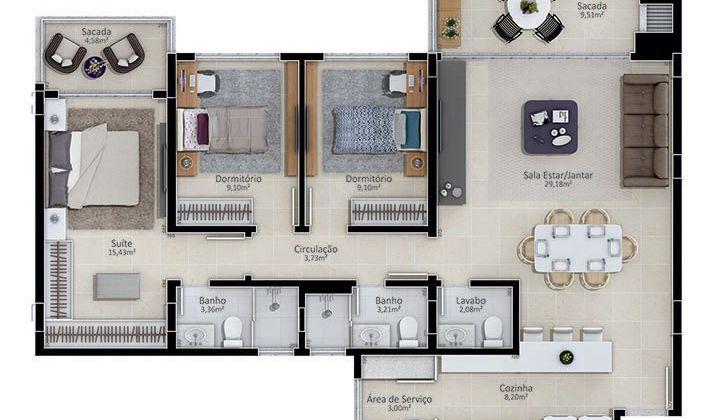 Apartamento 03d e 01s Jurere Internacional