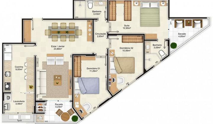 Apartamento em Coqueiros 03d e 01s