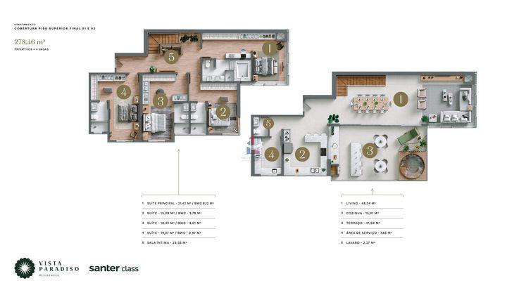 Duplex com 4 Suítes e 4 vagas