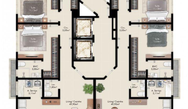 Perequê - Apartamento na Planta 3 Suítes 2 Vagas Perto da Praia