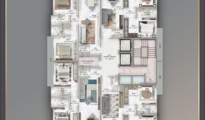 Perequê - Apartamento na Planta 2 Suítes 2 Vagas
