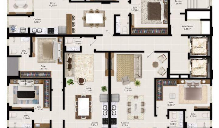 Perequê -  Apartamento na Planta 2 Suítes 2 Vagas a Poucos Metros do Mar