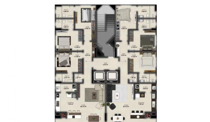 Perequê -  Apartamento na Planta 3 Suítes 2 Vagas Perto do Mar