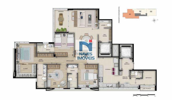 Apartamento no Funcionários, com 3 a 4 suítes