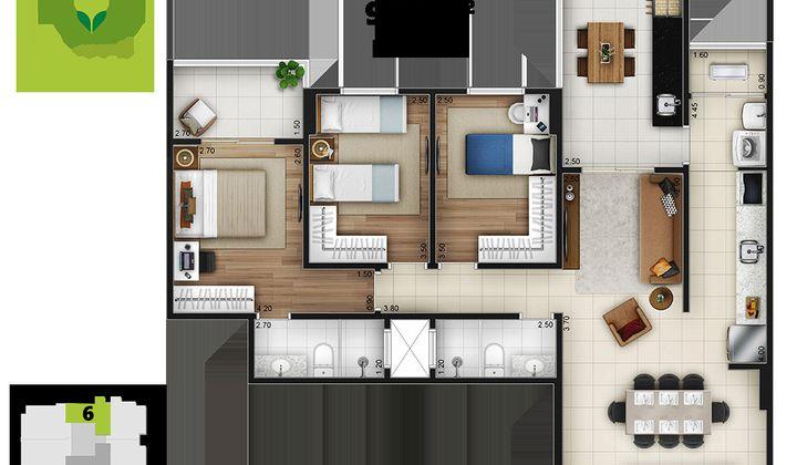 Apartamento 3 dormitórios no canto do Forte em Praia Grande - SP.