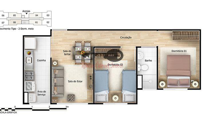 Apartamentos de 2 dormitórios - Pq d Carmo